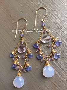 Tanzanite Chandelier Earrings Boho Chic Gemstone Chandelier Gypsy Earrings