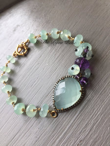 Pave Diamond and Aqua Chalcedony Bracelet
