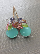 Load image into Gallery viewer, Aqua Chalcedony Cluster Earrings
