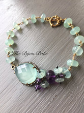Load image into Gallery viewer, Pave Diamond and Aqua Chalcedony Bracelet