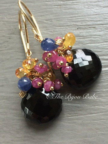 Black Spinel and Sapphire Cluster Earrings