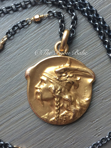 Rare Antique French Medal Viking Warrior
