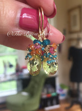 Load image into Gallery viewer, Lemon Quartz Cluster Earrings