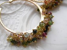 Charger l'image dans la galerie, Boho Chic Tourmaline Hoop Earrings Gemstone Hoops Boho Gypsy Hoop Earrings