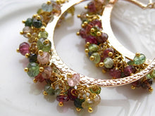 Load image into Gallery viewer, Boho Chic Tourmaline Hoop Earrings Gemstone Hoops Boho Gypsy Hoop Earrings