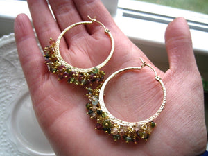 Boho Chic Tourmaline Hoop Earrings Gemstone Hoops Boho Gypsy Hoop Earrings