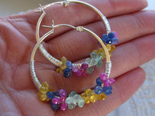 Load image into Gallery viewer, Sapphire Hoop Earrings