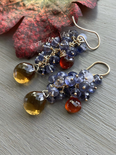 Beer Quartz and Iolite Cluster Earrings