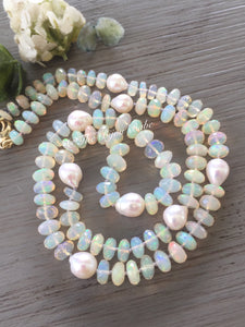 14k Gold Ethiopian Opal and Baroque Pearl Necklace