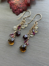 Load image into Gallery viewer, Beer Quartz with Garnet and Citrine Long Tassel Earrings