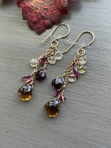 Beer Quartz with Garnet and Citrine Long Tassel Earrings