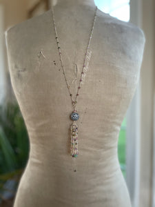 Reserved for Christine Blue Topaz and Tourmaline Gemstone Tassel Necklace