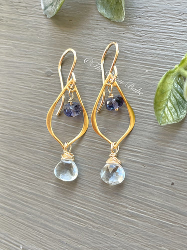 Blue Topaz and Iolite Chandelier Earrings