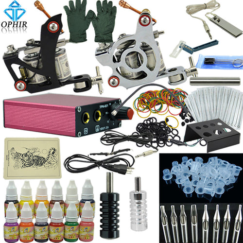 OPHIR Complete Tattoo Kit 1x Liner Tattoo Machine & 1x Liner Shader Tattoo Gun 12 Color Inks 50pcs Needles Body Tattoo Art_TA003