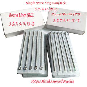 Tattoo Needles Mixed  100pcs Top Sterilized  Mixed Assorted Sterilize Tattoo Needles  RL/RS/M1 Tattoo Machine Needles Assorted