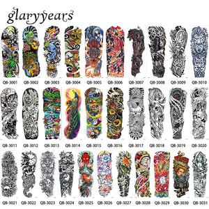31 Designs 1 Piece Big Large Tattoo Full Flower Arm Skull Machine Leg Body Art Decal Temporary for Women Men Tattoo Sticker 2018