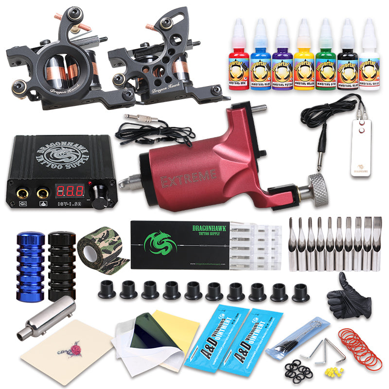 New Style Tattoo Rotary Guns With Coil Machine Kit Liner And Shader Immortal Ink Sets Supply