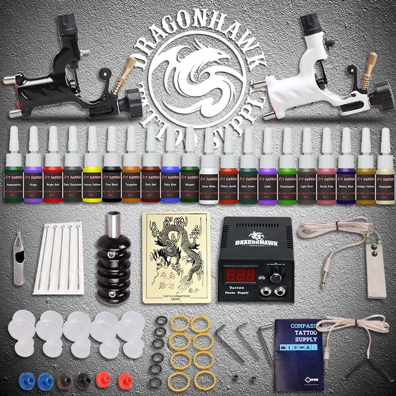 Beginner Tattoo Starter Kits 2 Rotary Tattoo Machines Guns 20 Ink Sets Power Supply Needles Top Tattoo Ink Free Shipping