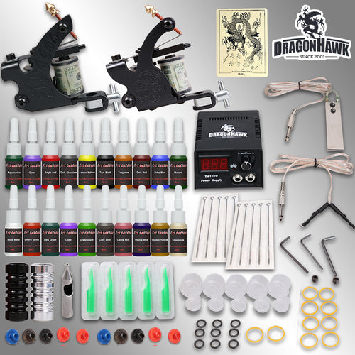 Professional Tattoo Kit 2 Guns Machines 20 Ink Sets Power Supply   D175GD-8