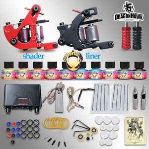 Beginner Tattoo Starter Kits 2 Guns Machines 10 Ink Sets Power Supply Disposable Needle Pedal Tips D1015NS Top U.S.A Tattoo Ink