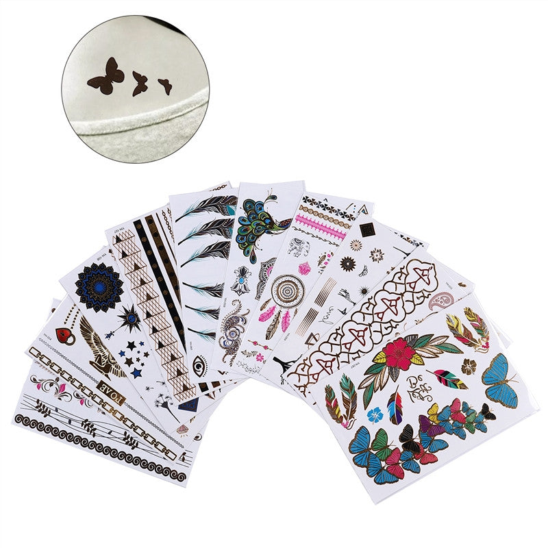 10pcs Gold Foiled Temporary Tattoos Fake Body Tattoos Stickers for Women Girls