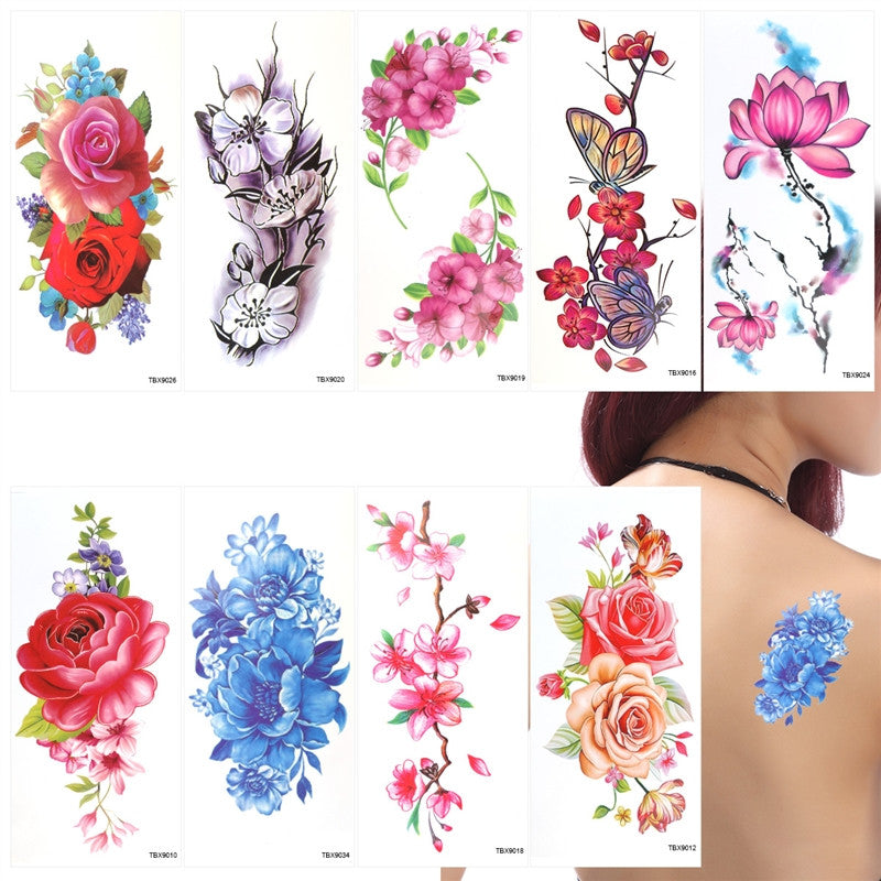 9 Sheets Temporary Tattoo Rose Peony Flower Butterfly Lotus Cherry Blossoms Flash Tattoo for Women