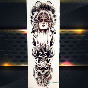 Full Arm Body Art Temporary Tattoo Sticker Tribal Warrior Skull Totem For Men Women Fake Machine Fish Waterproof Tattoo Stickers