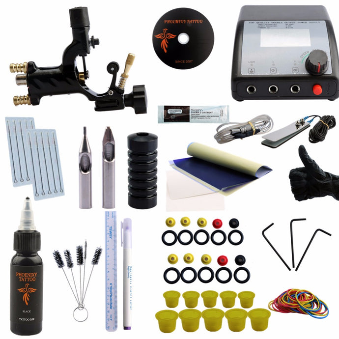 Professional Tattoo Kit Complete Rotary Tattoo Machine Gun Equipment Set Starter Kit 1 Gun Supply Body Art 30ml Black Tattoo Ink
