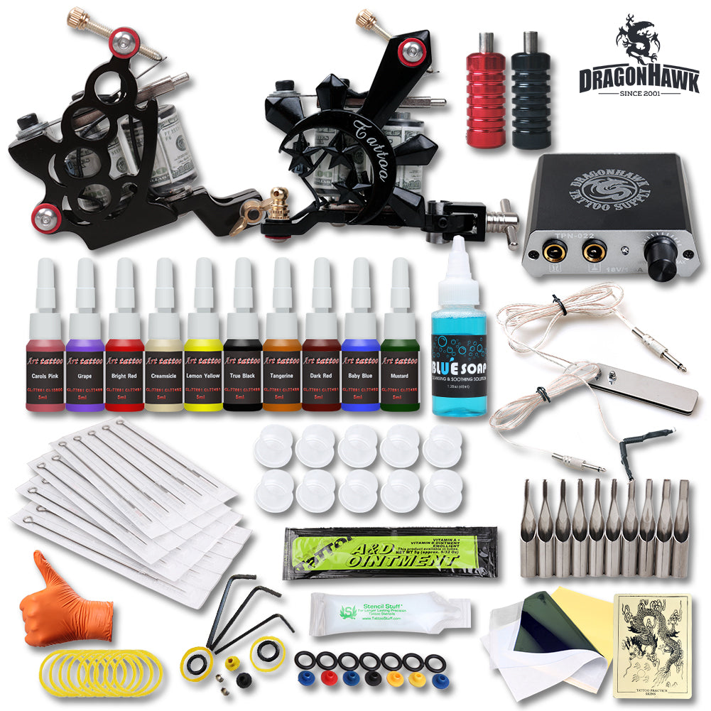 Complete Tattoo Starter Kits Tattoo Machine Power Ink Sets Needles Accessories