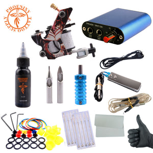 Complete Tattoo Kit Professional Beginner Machine Set 8 Wrap Coils Tattoo Gun Pigment Induction Tattoo Power Supply Set