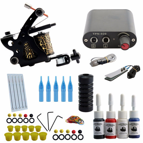High Quality Machine 5 Needles Power Supply Gun Set Exquisite Workmanship Complete Tattoo Kit Equipment With EU UK AU US Plug