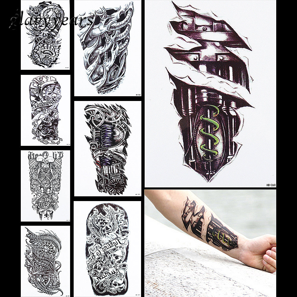 8 Pieces Machine Arm Pattern Design Temporary Tattoo Sticker Gear Clock Flower Decal Women Men Body Art Tattoo Sticker Hot HB#20