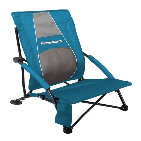 STRONGBACK Low Gravity Beach Chair - Blue & Grey