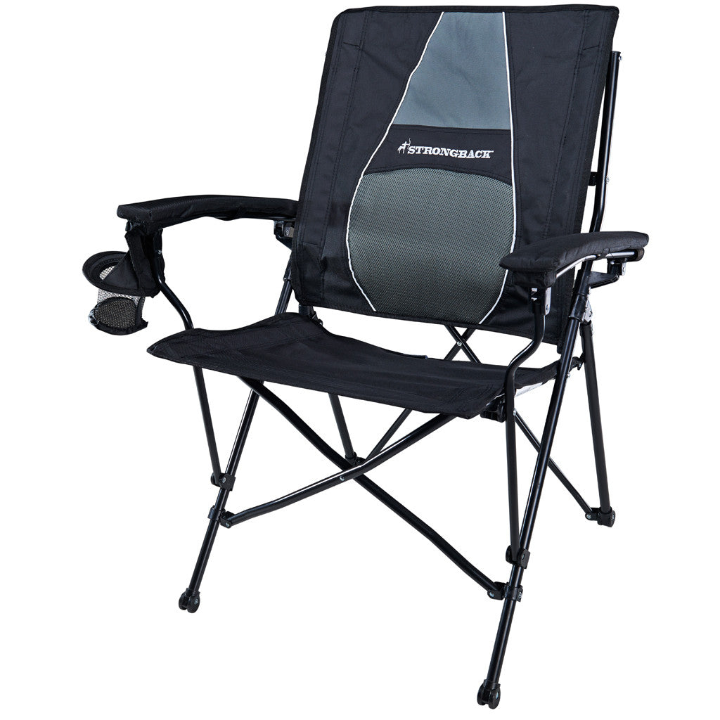 Comfortable camping chairs - Strongback Elite Black Grey Ergonomic Camp Chair