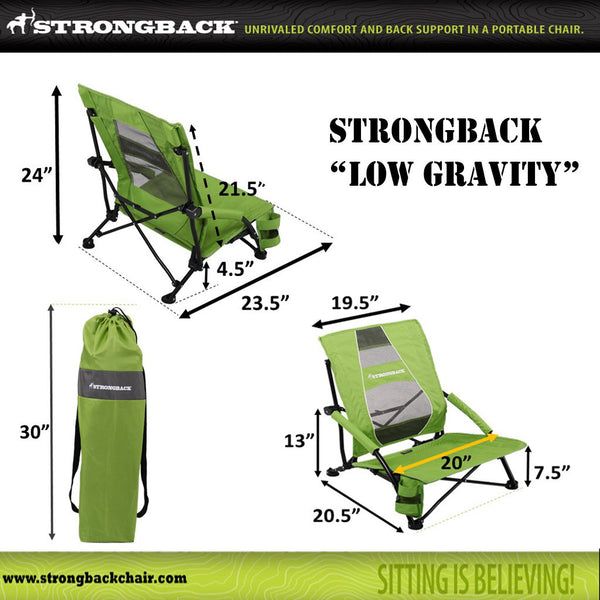 STRONGBACK Low Gravity Beach Chair - Black & Grey