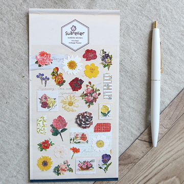 Suatelier Vintage Floral Sticker Sheet