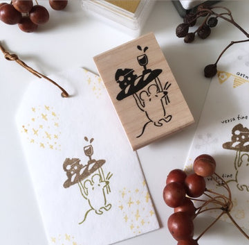Hankodori original rubber stamp - Mouse at party