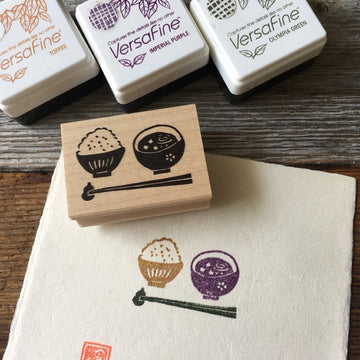 Hankodori original rubber stamp - Rice and Miso soup
