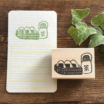 Hankodori original rubber stamp - Onigiri and Ocha