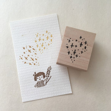 Hankodori original rubber stamp - Shinning heart