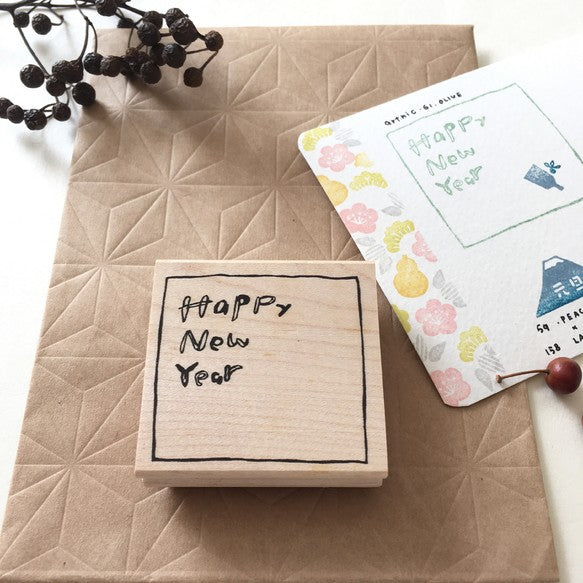 Hankodori original rubber stamp - Happy New Year and Cute Mouse