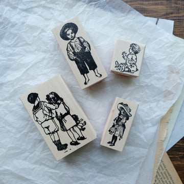 100 Proof Press Rubber Stamp Set - Vintage Children