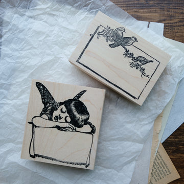 100 Proof Press Rubber Stamp Set - Antique Slumber Fairy Child