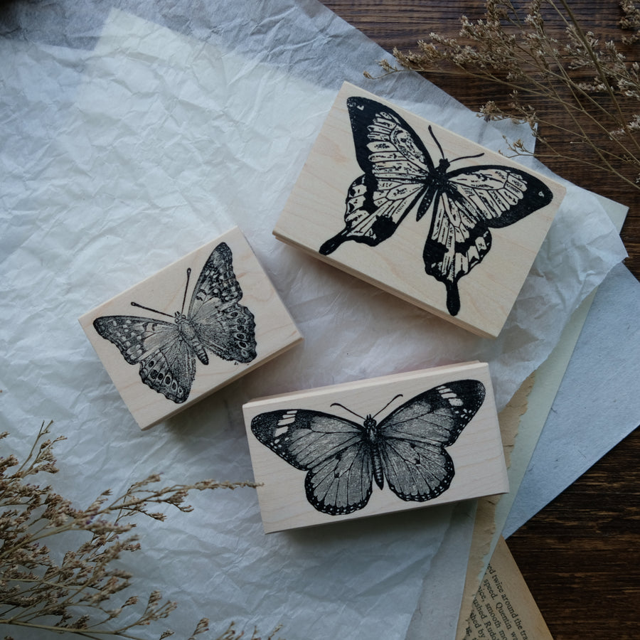 100 Proof Press Rubber Stamp Set - Gorgeous Butterfly