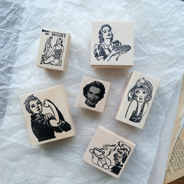 100 Proof Press Rubber Stamp Set - Vintage Female Icon