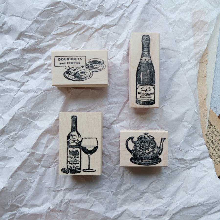 100 Proof Press Rubber Stamp Set - Please give me a drink