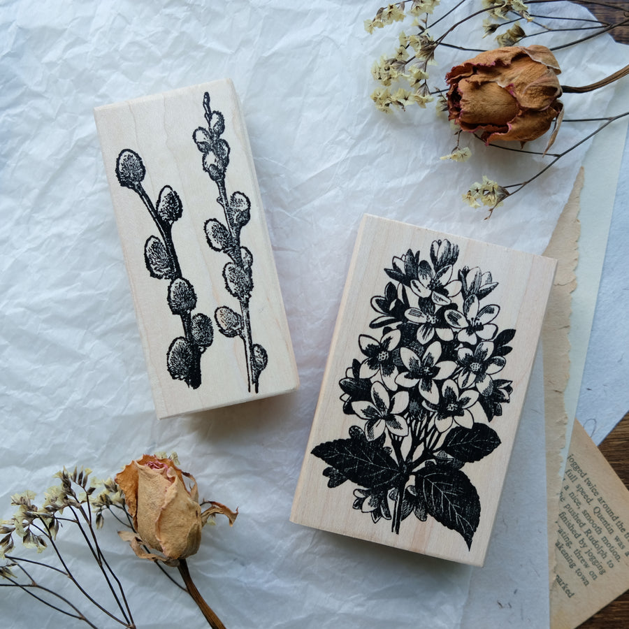100 Proof Press Rubber Stamp Set - Flowers Story