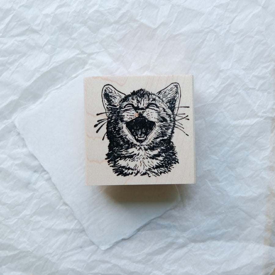 100 Proof Press Rubber Stamp Set - Attentive Dog And Cute Yawning Cat