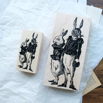 100 Proof Press Rubber Stamp Set - Dressed Rabbits