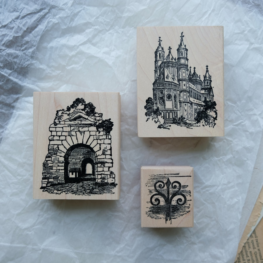 100 Proof Press Rubber Stamp Set - Vintage Architecture